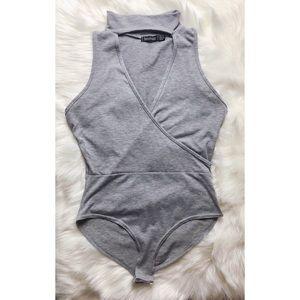 NWOT Gray Choker Neck Bodysuit